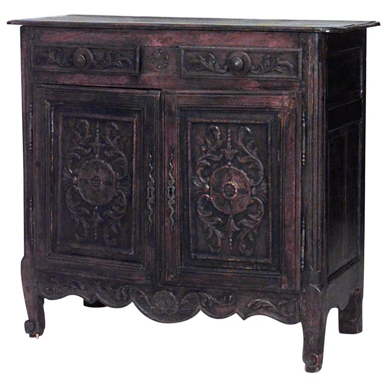 19th Century French Provincial Carved Walnut Sideboard For Sale