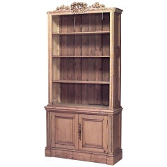 19th Century English Country Stripped Pine Bookcase