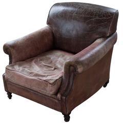 Vintage Distressed Brown Leather Armchair