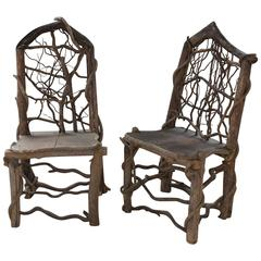 Custom Crafted Pair of Wood Side Chairs