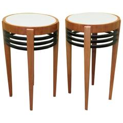 Pair of 1930 Round Cherry Wood and Glass Art Deco Side Tables