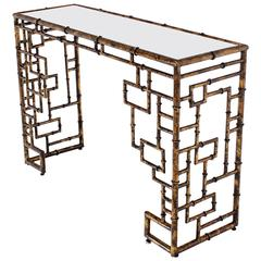 Gold Finish Faux Bamboo Console Table