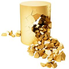 Stool, Bullet Pouf, Gold-Plated