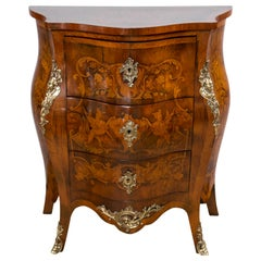 Small Three-Drawer Bronze-Mounted Marquetry Commode