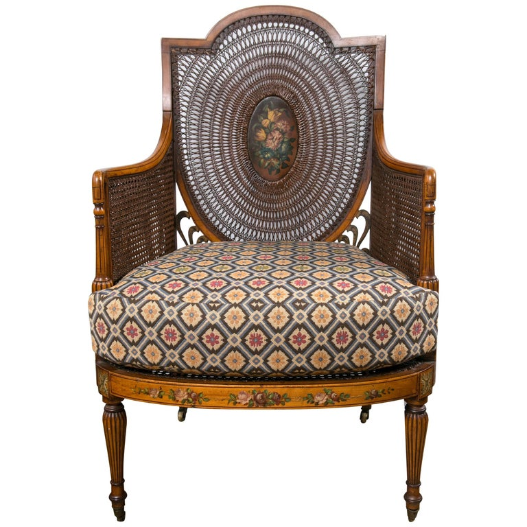 Paint Decorated and Caned Edwardian Armchair For Sale