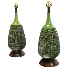 Pair of Green Truffle Pattern Vase Shape Bases Table Lamps