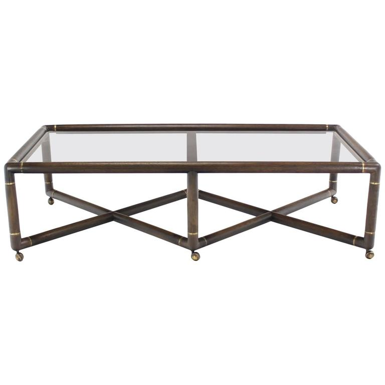 Double X Base Glass Top Rectangular Coffee Table On Wheels