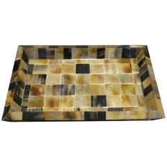 Square Pattern Rectangular Tray, India, Contemporary