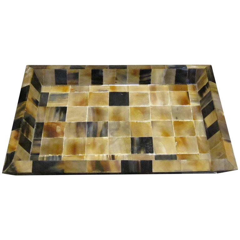 Square Pattern Rectangular Tray, India, Contemporary For Sale
