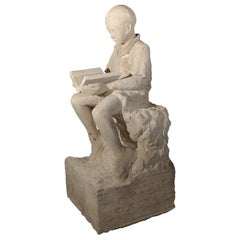 Antique 19th Century Carved Stone Statue of a Boy from Lyon, France