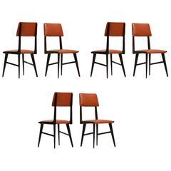 Set of Six Carlo Ratti Dining Chairs