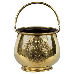 French Brass Cache Pot or Bucket, Late 1800s