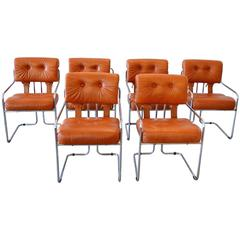 Leather and Chrome Tucroma Dining Chairs for Pace, Set of Six