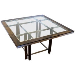 Amber Lucite and Chrome Square Dining Table, Italy, 1970s