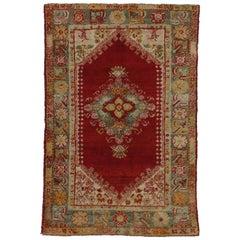 Late 19th Century Antique Turkish Angora Oushak Rug