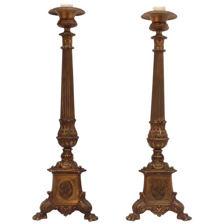 Pair of  Bronze  Renaissance Revival  Lamps