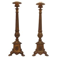 Pair Large Antique Bronze Renaissance Style Pricket Table Lamps
