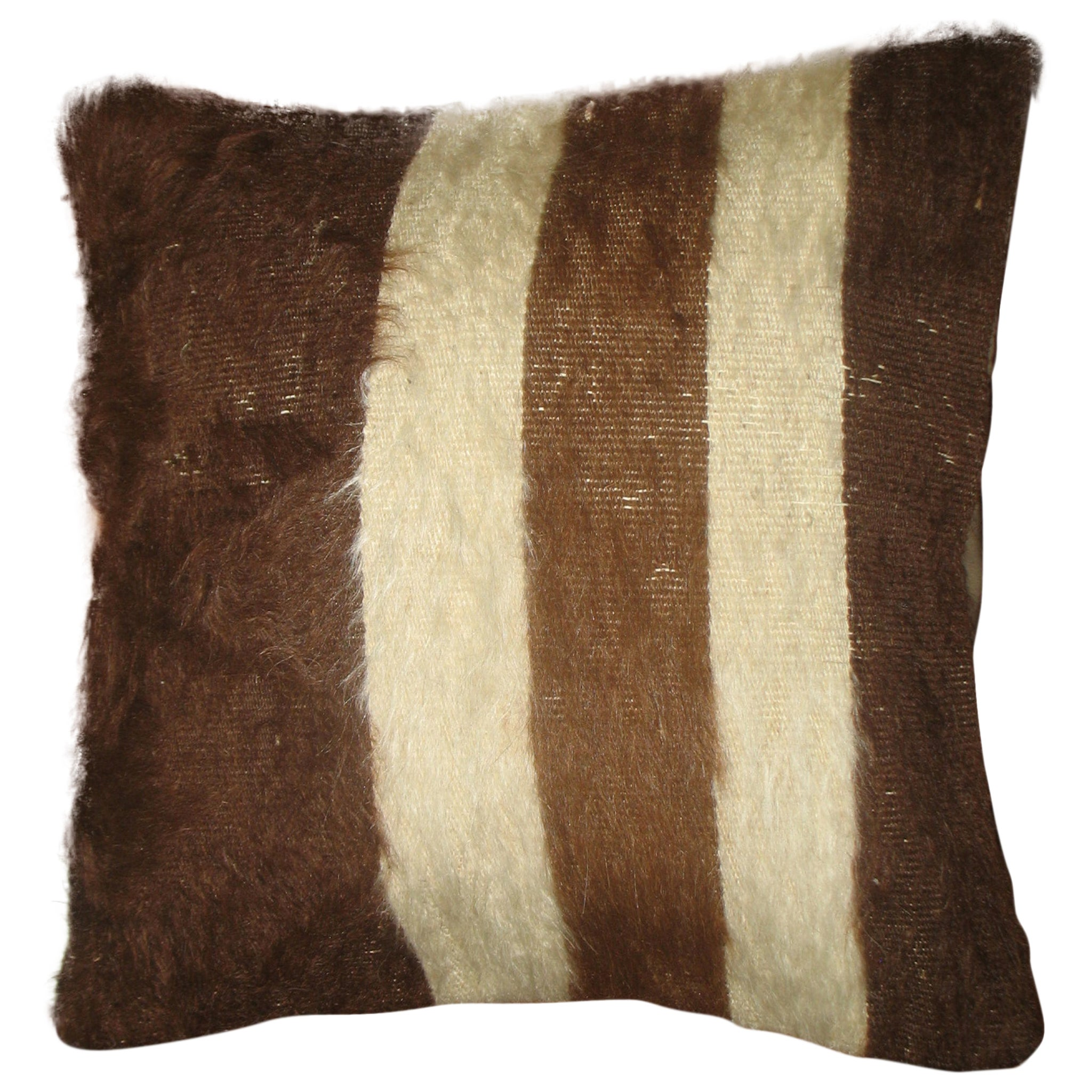 Brown Ivory Striped Mohair Rug Pillow