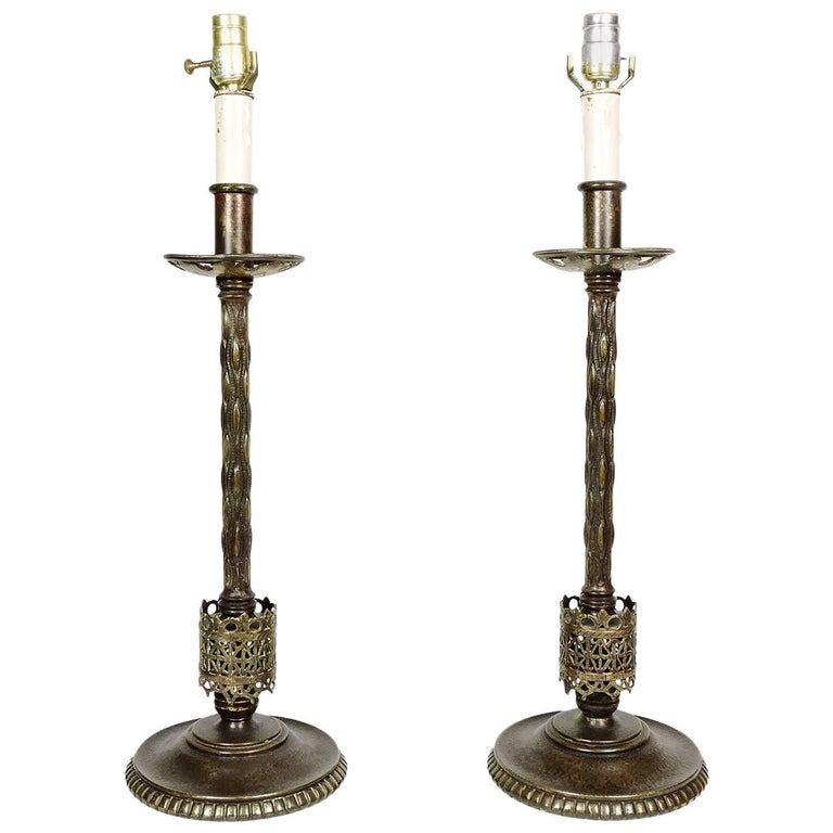 Pair of 20th Century Oscar Bach Cast Bronze Columnar Form Table Lamps