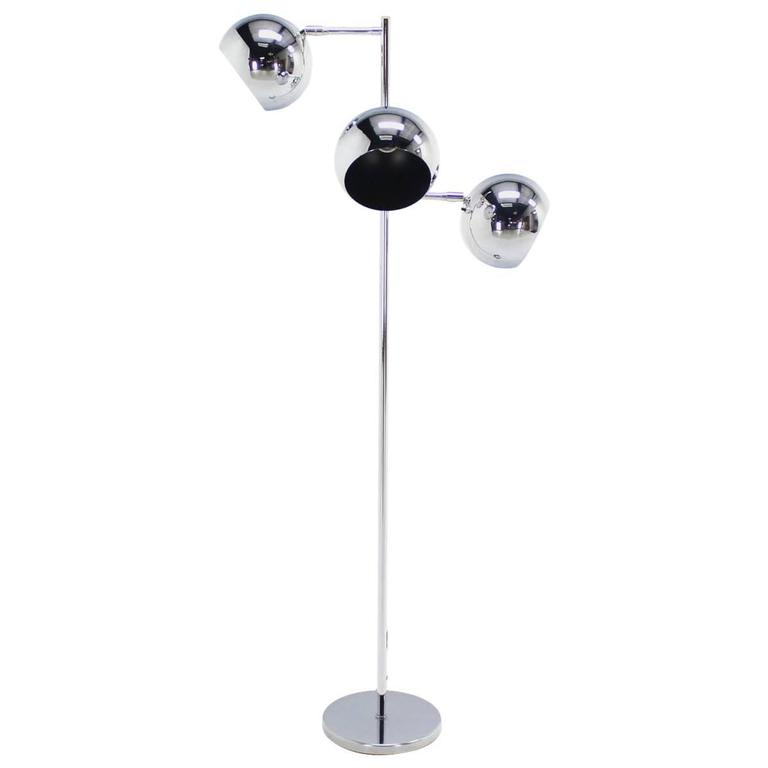 Koch lowy three globe shades chrome floor lamp adjustable for Monique 3 light adjustable floor lamp