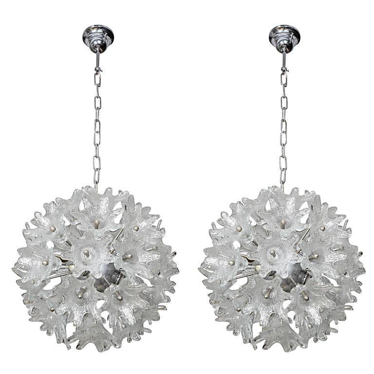 Charming Pair of Chrome and Murano Glass Ball Chandeliers