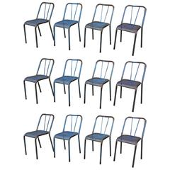 Vintage industrial Iron French Chairs, Original Old Blue Patina, 1950s