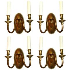 Set of Four Bronze Neoclassic Sconces