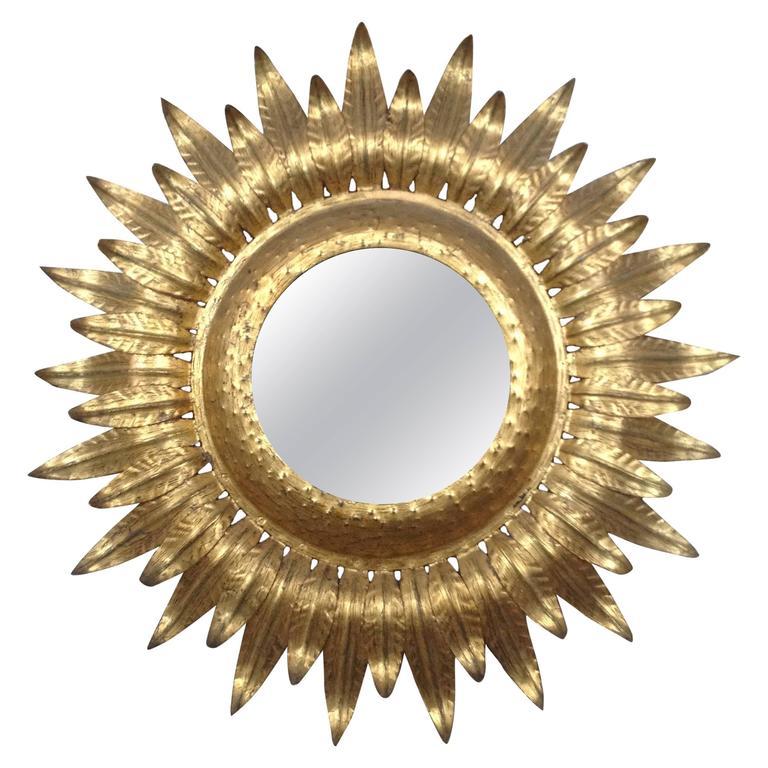 Large Sunburst Gilt Iron Mirror With Backlight At 1stdibs