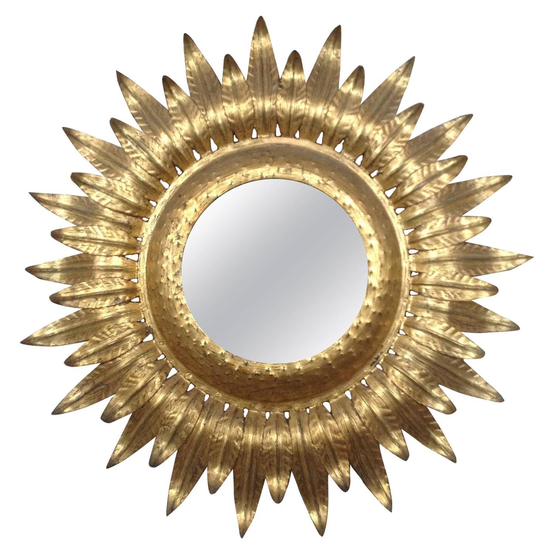 Large sunburst gilt iron mirror with backlight at 1stdibs for Sunburst mirror