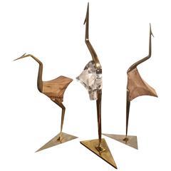 Trio of Tabletop Modernist Bird Sculptures