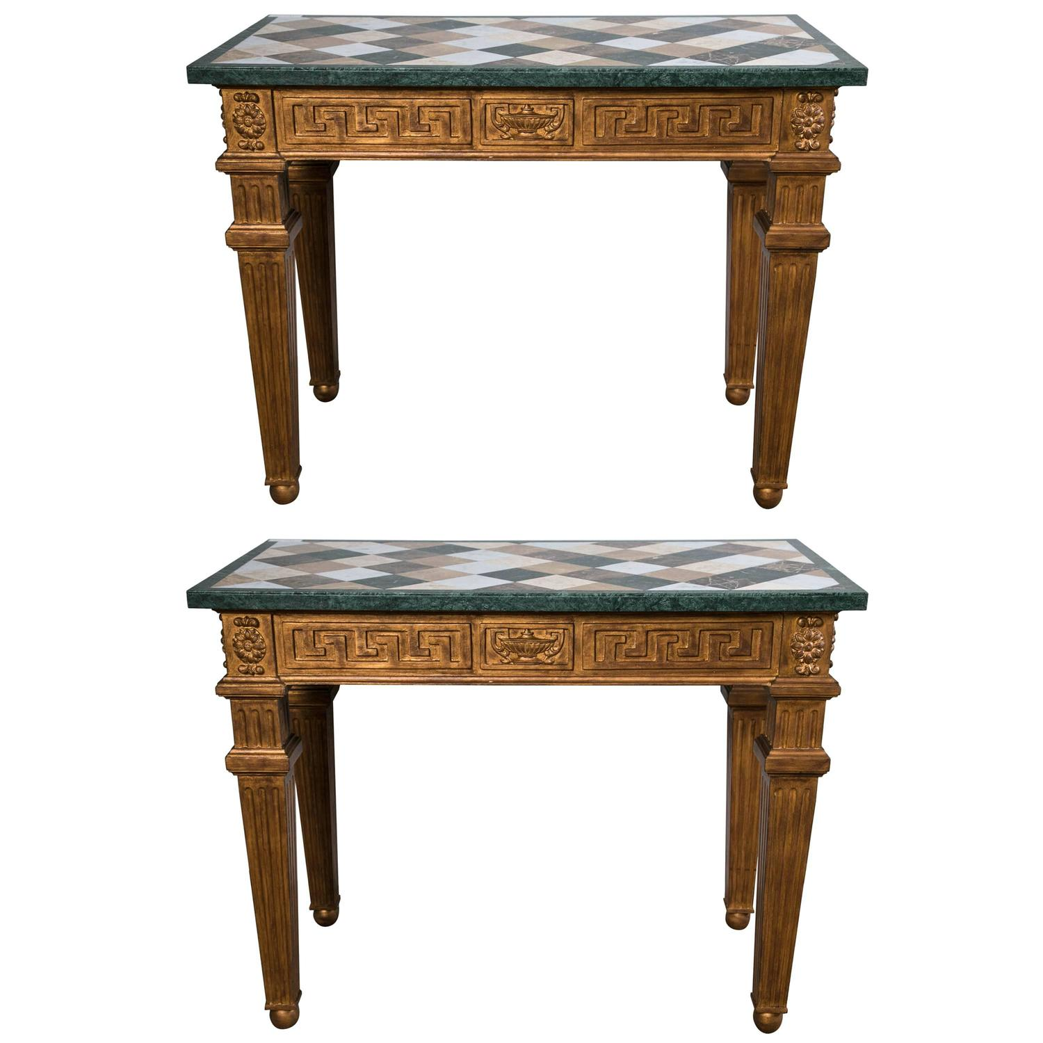pair of neoclassical style marble top greek key design