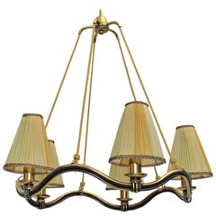 Art Deco Brass Yellow Vintage Chandelier or Pendant Hugo Gorge Austria, 1930s
