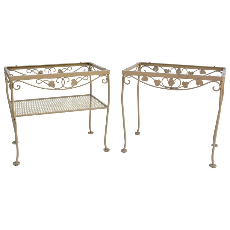 Pair Of Mid Century Outside Wrought Iron Tables