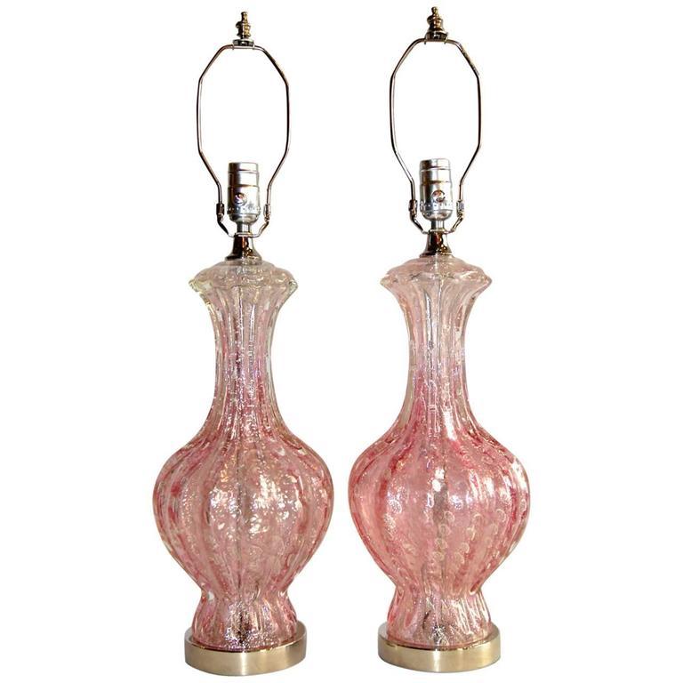 Pair of Pink Murano Glass Lamps
