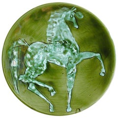 Superb Platter with Prancing Horse Marked Plisson France