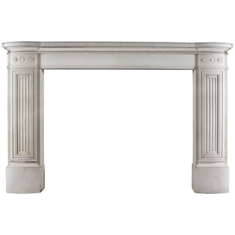 Antique English Regency Statuary Marble Fireplace Mantel