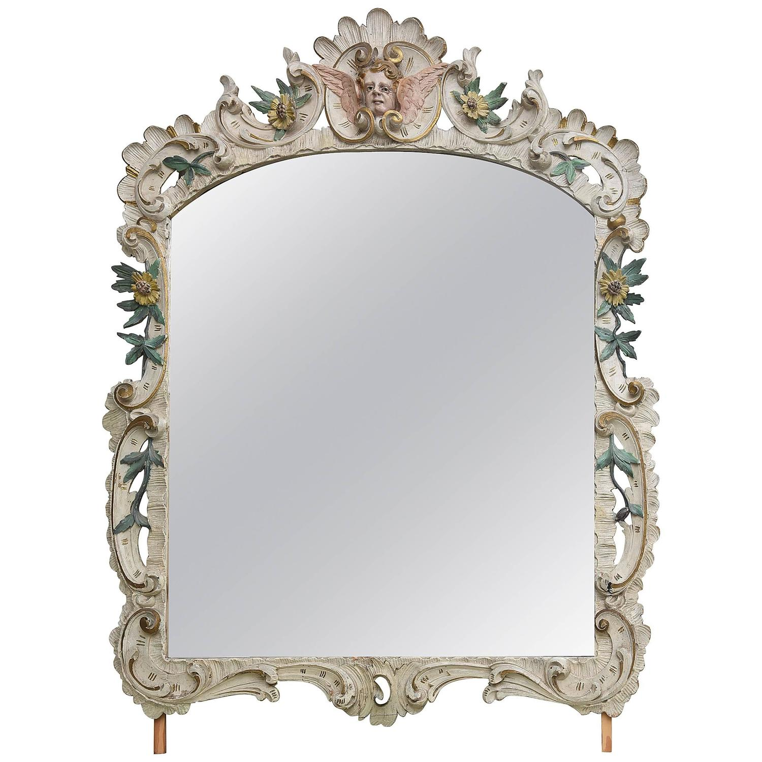 19th Century Antique Swedish Hand-Carved Frame and Mirror at 1stdibs