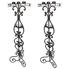 Pair of Wrought Iron Candelabras