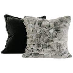 Chinchilla Style Rex Rabbit Fur Pillow