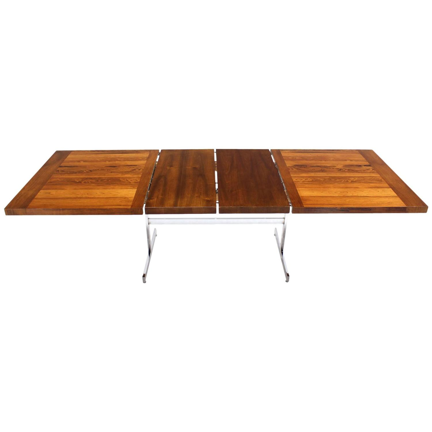 Chrome Base Walnut And Rosewood Top Dining Table With Two Leaves For