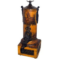 Single Tole Lamp with Painted Decoration