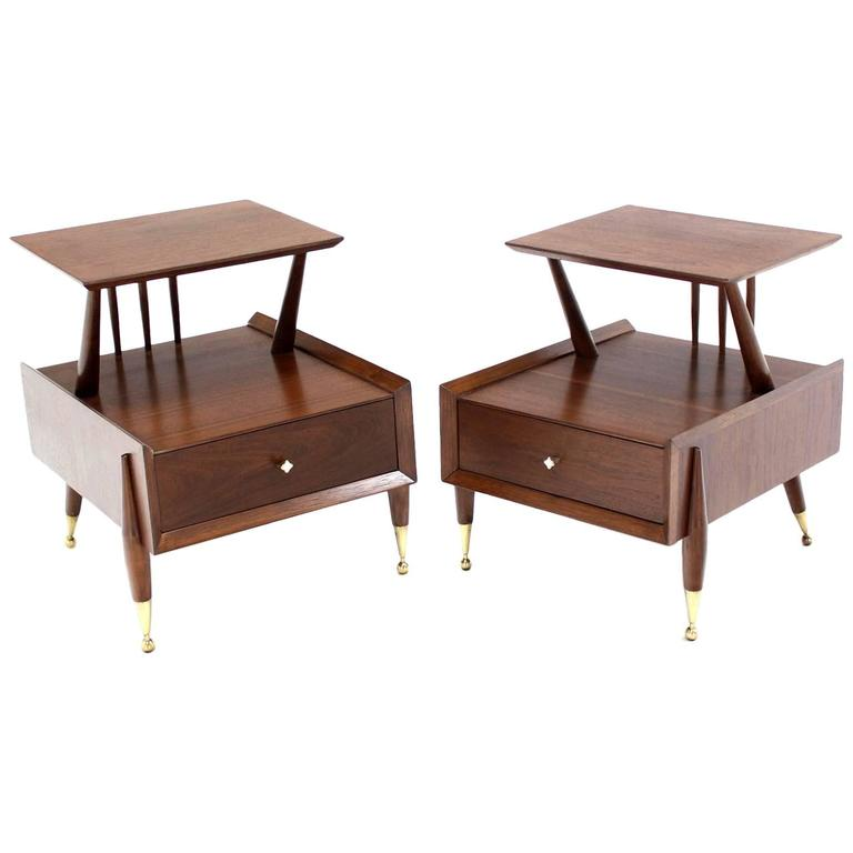 Pair of Walnut Step Nightstands or End Tables on Ball Legs