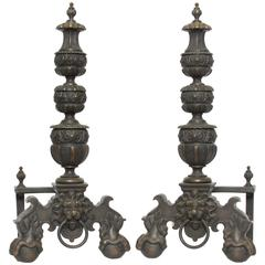 Pair of Bronze Baroque Style Andirons