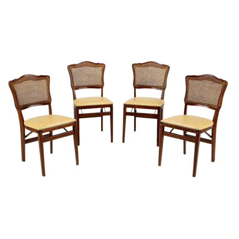 Set  Of Four Mahogany, Cane & Leather Regency Folding Chairs