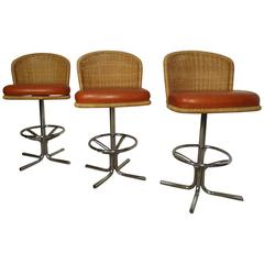 Three Mid-Century Chrome and Wicker Barstools by Daystom