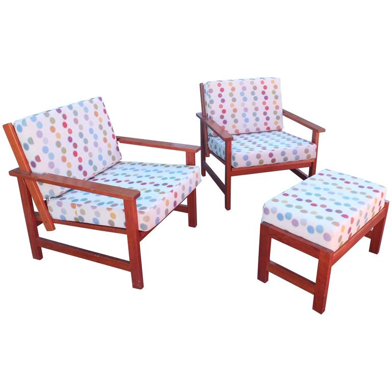 High Quality Charles Webb Pair Of Cherry Lounge Chairs And Ottoman 1