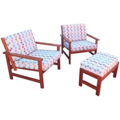 Charles Webb Pair of Cherry Lounge Chairs and Ottoman