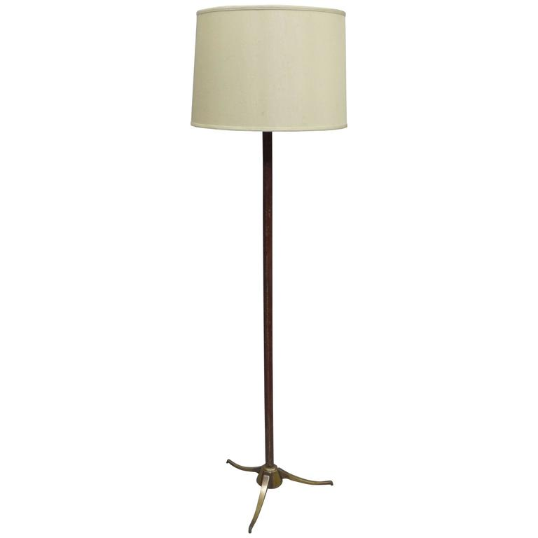 French Mid-Century Modern Hand-Stitched Leather Floor Lamp, Jacques Adnet Style