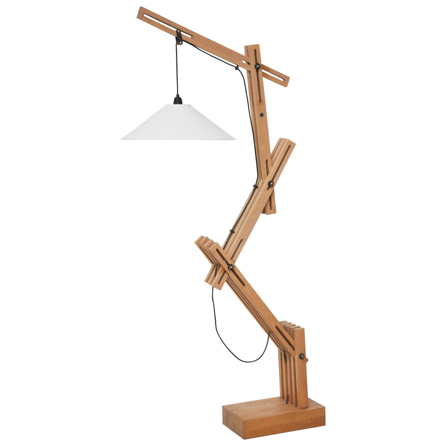 Architectural wooden floor lamp for sale at 1stdibs for Wooden floor lamp for sale