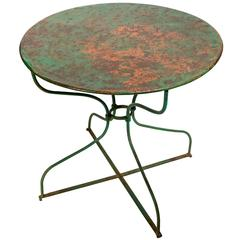 French Circular Green Painted Iron Garden Table